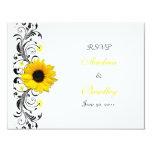 "Sunflower Floral Response Card 4.25"" X 5.5"" Invitation Card"