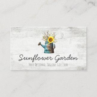 Sunflower Floral & Rustic Wood Vintage Cottage Business Card