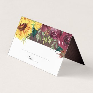 Sunflower Floral Wood Fall Wedding Place Card
