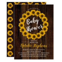 Sunflower Floral Wreath Wood Baby Shower Invite