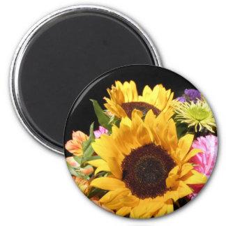 Sunflower Flower Bouquet Sunflowers Floral Photo 2 Inch Round Magnet