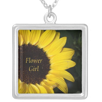 Sunflower Flower Girl Personalized Silver Plated Necklace