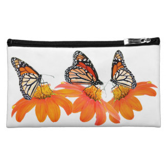 Sunflower Flower Monarch Butterfly Floral Garden Makeup Bag
