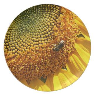 Sunflower Flower Petals Floral Bee Plate