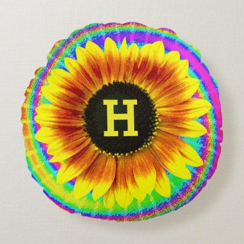 Sunflower Flower Power Tiedyed Retro Monogram Round Pillow