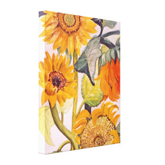 Sunflower Flower Watercolor (4) Gallery Wrapped Canvas