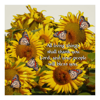 Sunflower Flowers Butterflies Thank God Print