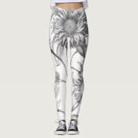 Sunflower Flowers Floral All Over Print Leggings