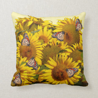 Sunflower Flowers Floral Butterfly Pillow