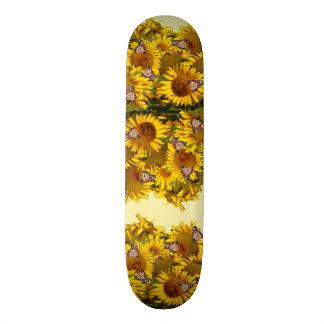 Sunflower Flowers Monarch Butterflies Skateboard
