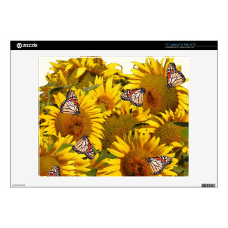 Sunflower Flowers Monarch Butterfly Floral Gardene Decals For Laptops