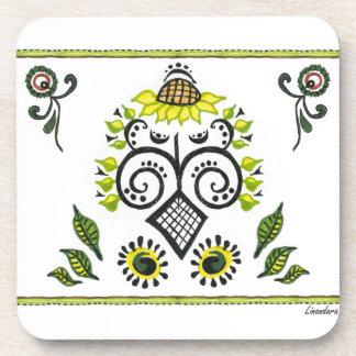 Sunflower Folk Pattern by Alexandra Cook Drink Coaster