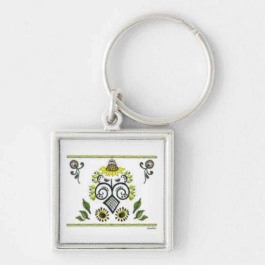 Sunflower Folk Pattern by Alexandra Cook Keychain