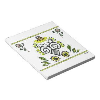 Sunflower Folk Pattern by Alexandra Cook Notepad