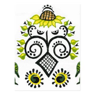 Sunflower Folk Pattern by Alexandra Cook Postcard