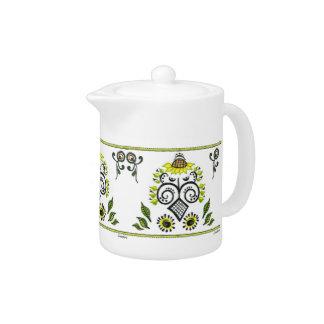 Sunflower Folk Pattern by Alexandra Cook Teapot