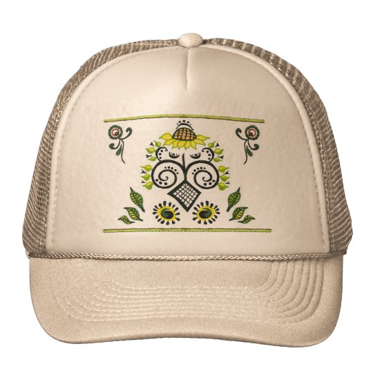 Sunflower Folk Pattern by Alexandra Cook Trucker Hat