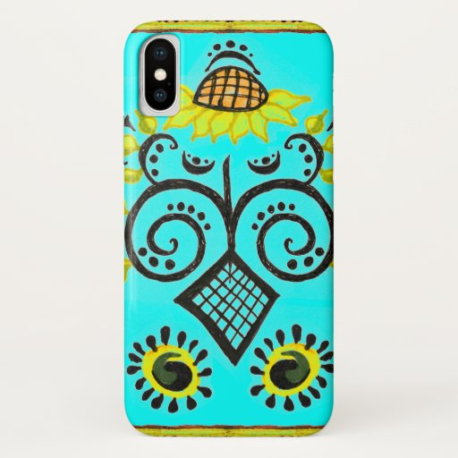 Sunflower Folk Pattern on Turquoise Blue iPhone XS Case
