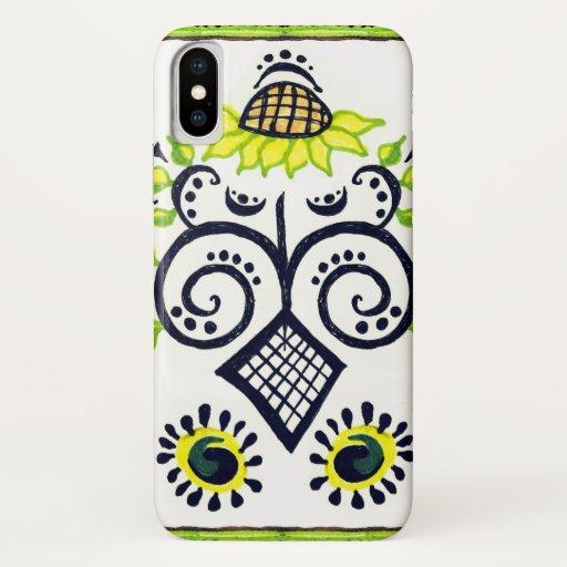 Sunflower Folk Pattern with dots, spirals on white iPhone XS Case