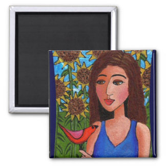 Sunflower forest, Lady & Red Bird - magnet