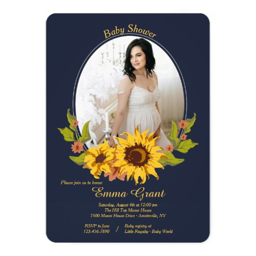 Sunflower Frame Photo Baby Shower Invitation