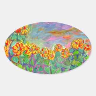 Sunflower Frenzy Oval Sticker