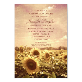 Sunflower Funeral Announcements Memorial Cards