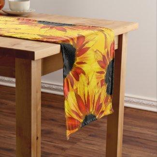Sunflower Garden Abstract Short Table Runner