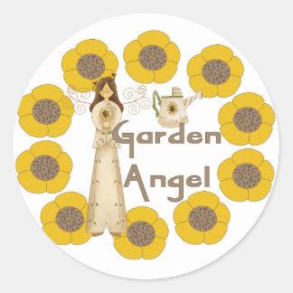 Sunflower Garden Angel Classic Round Sticker