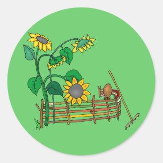 Sunflower Garden Classic Round Sticker
