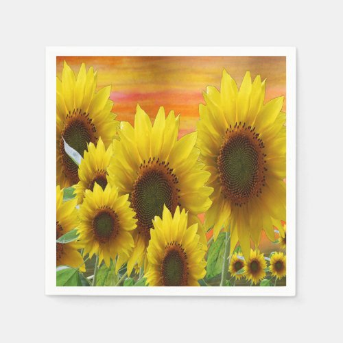 Sunflower garden paper napkins.
