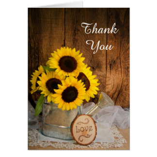 Sunflower Garden Watering Can Bridesmaid Thank You Greeting Card