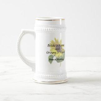 Sunflower Gazing Down Wedding Products Beer Stein