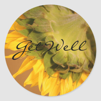 Sunflower, Get Well Classic Round Sticker