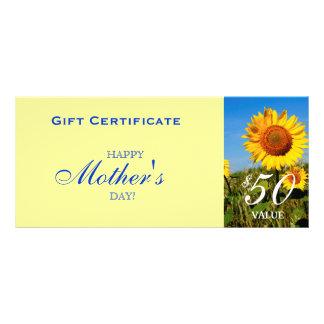 Sunflower Gift Certificate Mother's Day Customized Rack Card