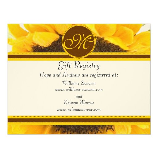 Rustic sunflower gift registry wedding insert card 425quot x for Wedding invitation include registry