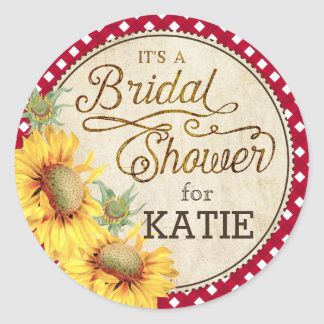 Sunflower Gingham Check Rustic Bridal Shower Label Classic Round Sticker