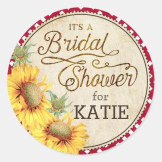 Sunflower Gingham Check Rustic Bridal Shower Label Round Sticker