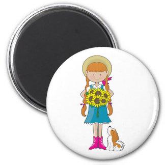 Sunflower Girl 2 Inch Round Magnet