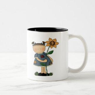 Sunflower Girl 9th Birthday Gifts Two-Tone Coffee Mug