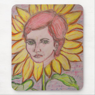 Sunflower Girl Mouse Pad