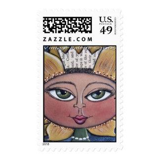 Sunflower Girl Postage Stamp