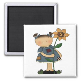 Sunflower Girls 5th Birthday Gifts 2 Inch Square Magnet