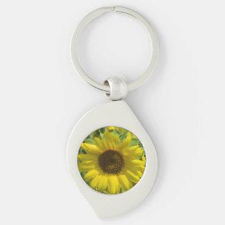 Sunflower Glory Keychain Silver-Colored Swirl Keychain