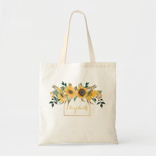 Sunflower Gold Personalized Floral Flower Tote Bag