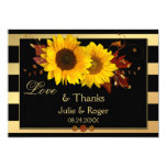 Sunflower Gold Stripe Photo Wedding Thank You Card
