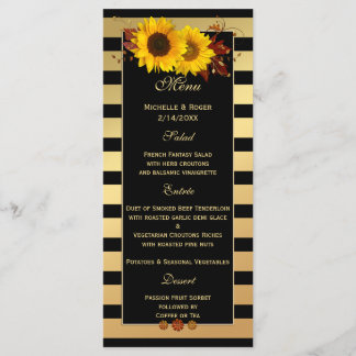 Sunflower Gold Wedding or Thanksgiving Menu Card