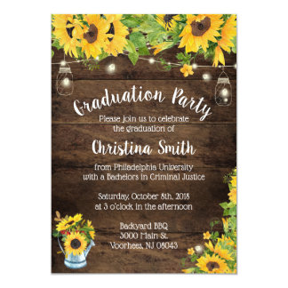 Sunflower Graduation Party - Country Rustic Card