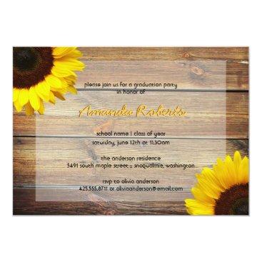 Beach Themed Sunflower Graduation Party Invitation