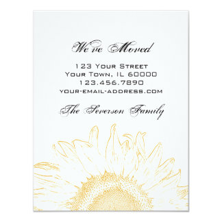 "Sunflower Graphic Change of Address Announcement 4.25"" X 5.5"" Invitation Card"